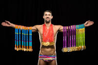 Michael Phelps with his 28 Olympic medals