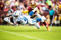Nyheim Hines- Colts-  scores touch down despite the close attention of Josh Norman  Washington Redskins.