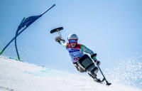 Jernej Slivnik of Slovenia  competes during the Alpine Skiing Sitting Mens Giant Slalom at  The Paralympic Winter Games.