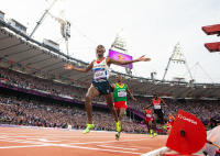 Mo Farah winning gold in the 5000m at London Olympics 2012